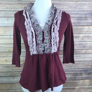 Deletta Ruffled Maroon Red Blouse Top